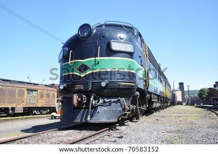Diesel Locomotive at Steamtown National Historic Site in Scranton, Pennsylvania - stock photo