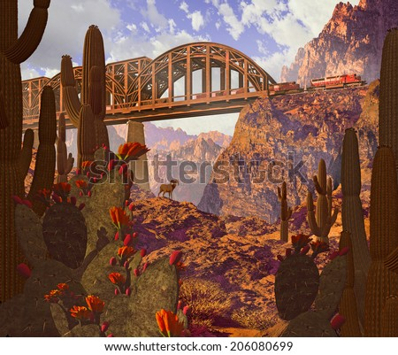 Diesel locomotive crossing bridge over canyon, and desert bighorn sheep.  - stock photo