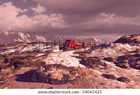 Diesel locomotive in the high desert with a dusting of snow on the ground. - stock photo