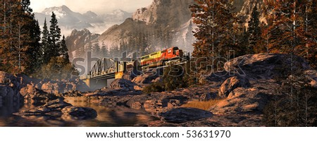 Diesel Locomotive On Steel Arched Bridge In The Rocky Mountains - stock photo