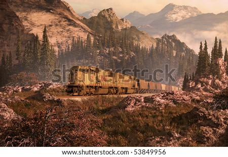 Diesel locomotive traveling through a Rocky Mountain landscape. - stock photo
