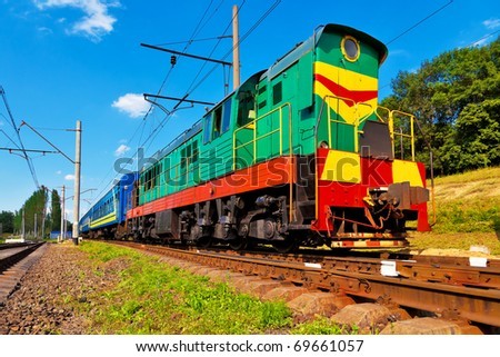 Diesel passenger train - stock photo