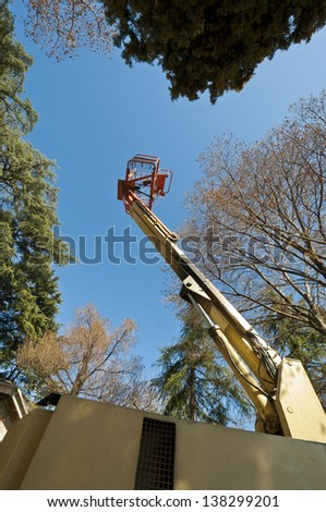 Diesel Powered Articulating Boom Lift - stock photo
