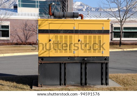 Diesel-Powered Backup Generator at Business Offices - stock photo