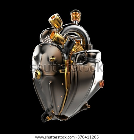 Diesel punk robot techno heart. engine with pipes, radiators and glossy dark bronze metal hood parts. bike show rock hardcore poster template isolated - stock photo