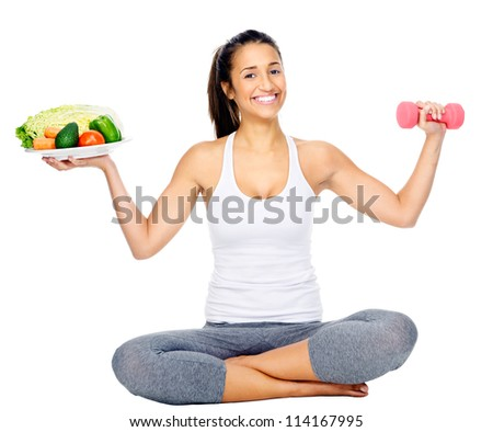 diet and exercise, healthy lifestyle woman isolated on white background - stock photo