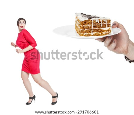 Diet and nutrition concept. Plus size woman afraid cake isolated - stock photo