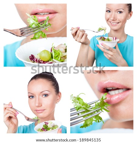 Diet and sport collage. Woman with fresh salad  - stock photo