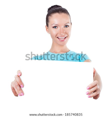 Diet and sport concept - young sporty woman shows scale on white  - stock photo