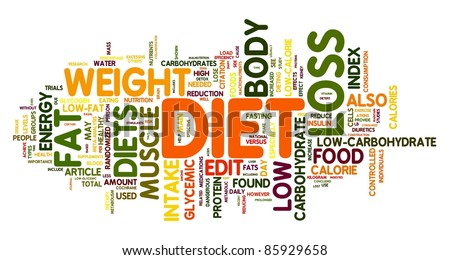 Diet and weight loss related words concept in tag cloud - stock photo