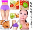 Diet collage. Healthy lifestyle concept - stock photo