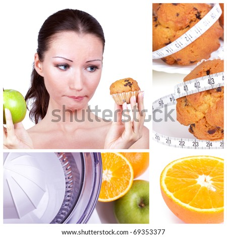Diet collage. Woman in choice - stock photo