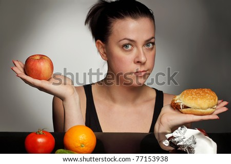 diet concept fat or healthy - stock photo