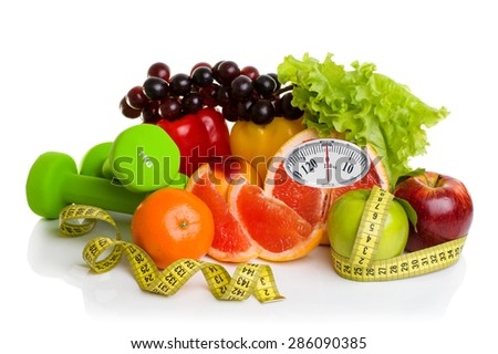 Diet concept.Fitness equipment, healthy food with weight scale isolated on white background - stock photo