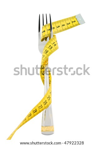 Diet concept, fork and measuring tape isolated - stock photo