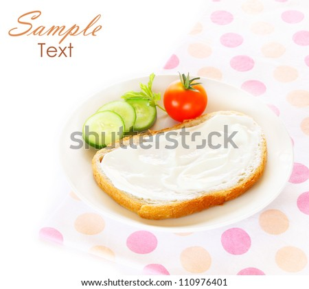 diet concept - sliced bread with cream cheese and vegetables - stock photo