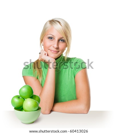 Diet concept with young blond. - stock photo