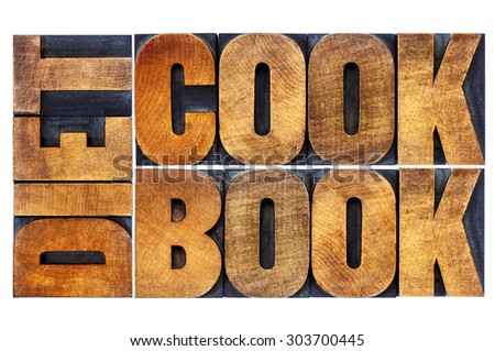 diet cookbook - isolated word abstract in letterpress wood type blocks stained by color inks