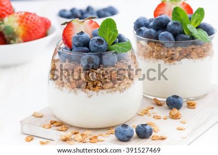 diet dessert with yogurt, muesli and fresh berries, close-up, horizontal - stock photo