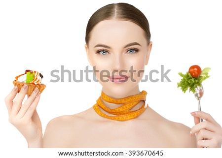 Diet. Dieting concept. Diet plan for woman. Girl and healthy food, slim body. Slimming treatment. Healthy lifestyle - stock photo