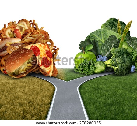 Diet dilemma decision concept and nutrition choices between healthy good fresh fruit and vegetables or greasy rich fast food at a crossroad trying to decide what to eat for the best lifestyle choice. - stock photo