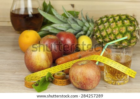 diet food, apple juice, vegetables and fruits, concept diet, vitamin supplements, supplements