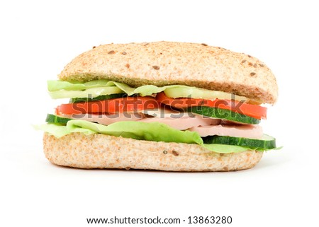 diet food concept - sandwich and meter