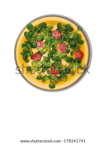 diet green Field salad with tomatoes, Serving in heavy yellow and gray plate, isolated