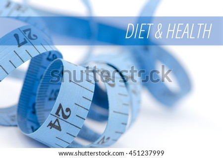 Diet & health, health concept, close up & selective focus of blue measuring tape, isolated on white background