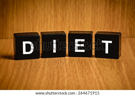 diet healthy text on black block, health concept - stock photo