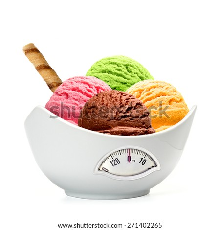 Diet ice cream scoops in bowl with white background