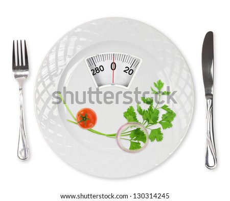 Diet meal. Cherry tomato, parsley and onion in a plate with weight scale - stock photo