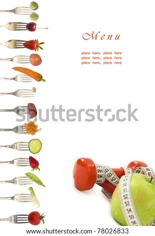 diet menu with vegetables and fruits - stock photo