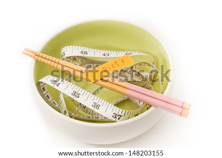 Diet messages. Dish chopsticks and measure tape.