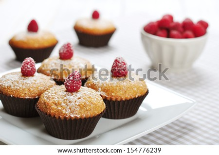 Diet muffins with bran  and fresh raspberries on plate - stock photo