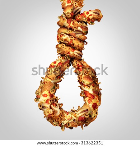 Diet noose concept as a group of greasy fast food shaped as a hangman rope as a symbol for nutritional cholesterol danger and a social issue for the danger of obesity and not eating healthy. - stock photo