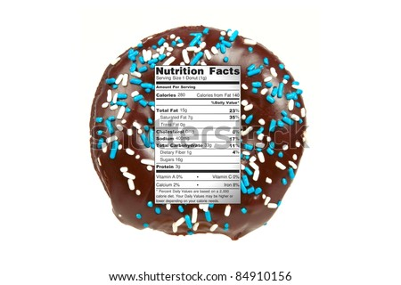 Diet / Nutrition Concept Chocolate Donut with Nutrition Label Isolated on a White Background - stock photo