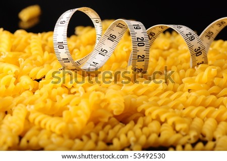 diet pasta and tapeline - stock photo
