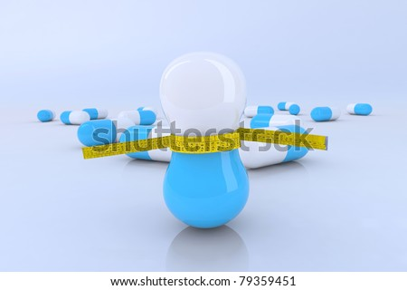 diet pills with tape meter 3d illustration - stock photo