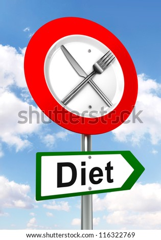 diet red and green road sign with fork and knife on sky background. clipping path included