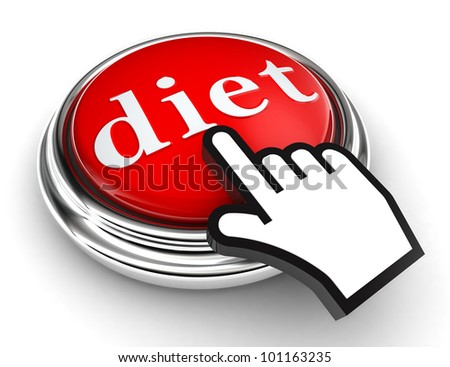 diet red button and cursor hand on white background. clipping paths included - stock photo