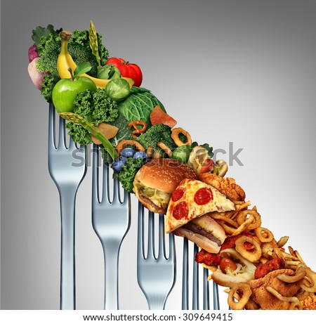 Diet relapse change as a healthy lifestyle slowly goes downward to greasy unhealthy fast food concept as a dieting decline as a group of descending forks with meal items on them. - stock photo