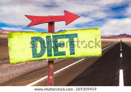 Diet sign with road background - stock photo