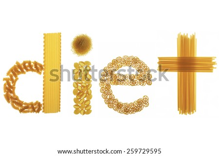 diet spelled with pasta - stock photo