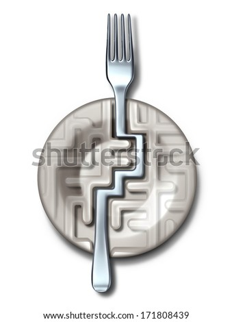 Diet success solutions and food guide as a plate in the shape of a maze or labyrinth with a silver fork bending to find the answer as a metaphor for eating questions and fitness dieting challenges. - stock photo