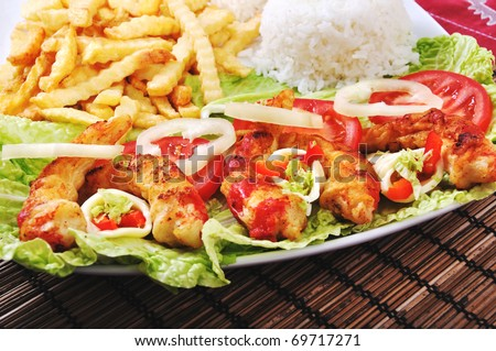 Diet surimi with rice and vegetable - stock photo