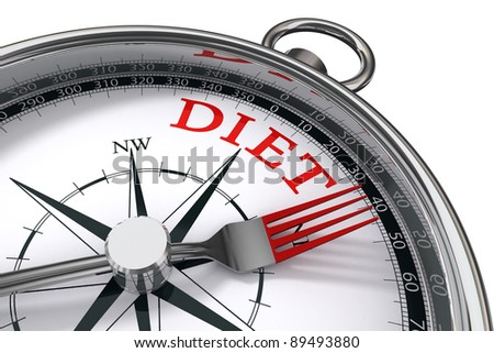 diet the way indicated by compass with fork conceptual image on white background