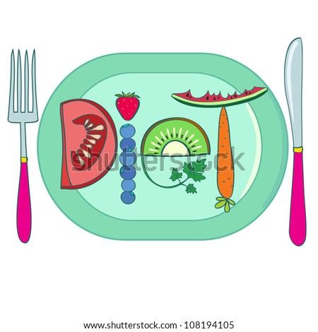Diet. Title made of vegetables and fruits, on plate. Creative vector illustration. - stock photo