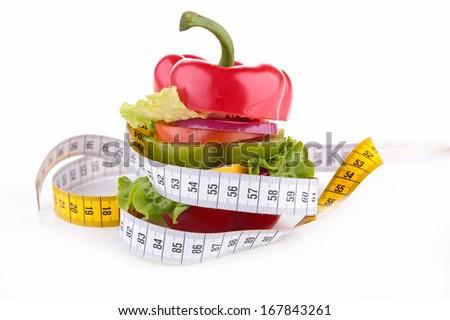 diet vegetable sandwich - stock photo