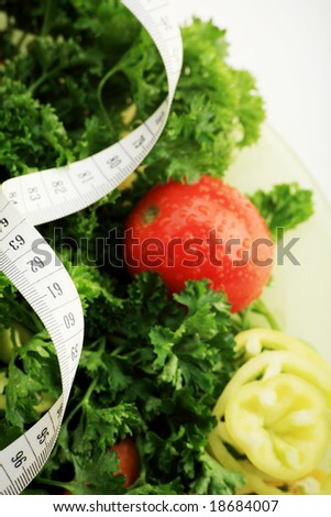 Diet vegetables, fruits and other foodstuffs. - stock photo
